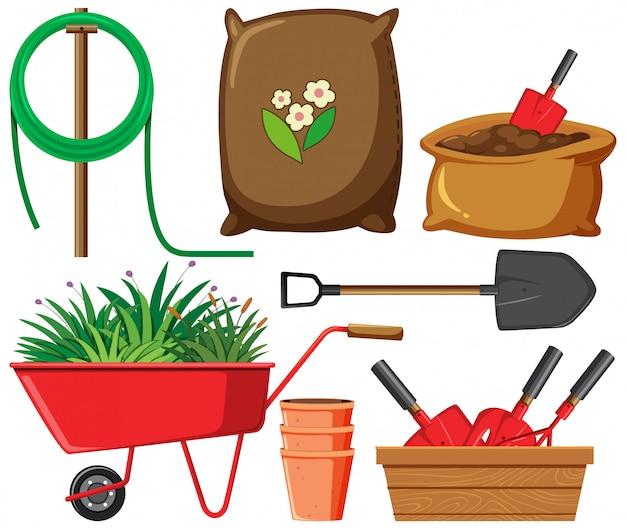 Set tuinieren items op witte achtergrond