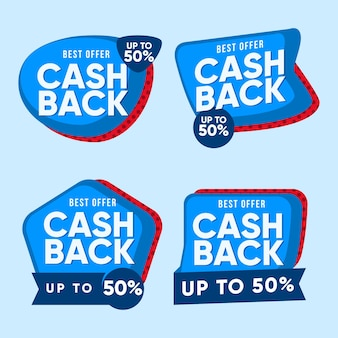 Set tweekleurige cashback labels