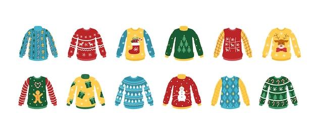 Set ugly christmas sweater vector cartoon gebreide kleding met nieuwjaarspatronen