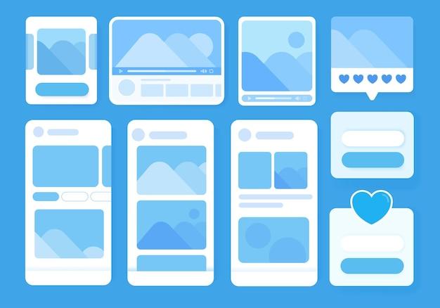 Set ui, ux, gui schermen applicatie met platte ontwerpsjabloon