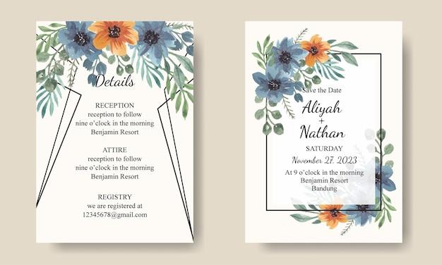 Set uitnodigingskaart aquarel blauw oranje bloemen
