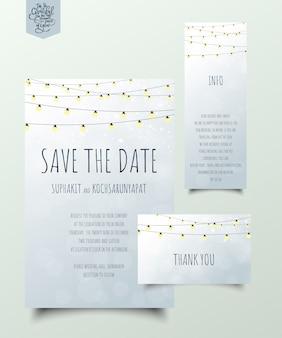 Set uitnodigingskaarten met gloeilamp.