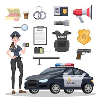 Set uitrusting van politieagent. mooie politieagent en auto. badge en pistool, handboeien en munitie. geïsoleerde platte vectorillustratie