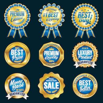 Set uitstekende kwaliteit medailles in blauwe en gouden rand.