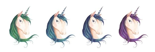 Set unicorn hoofd geïsoleerd op wit