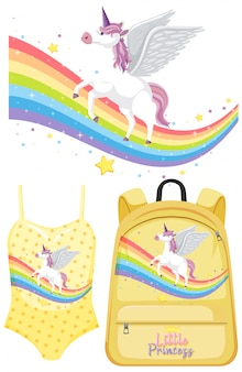 Set unicorn kleding Premium Vector