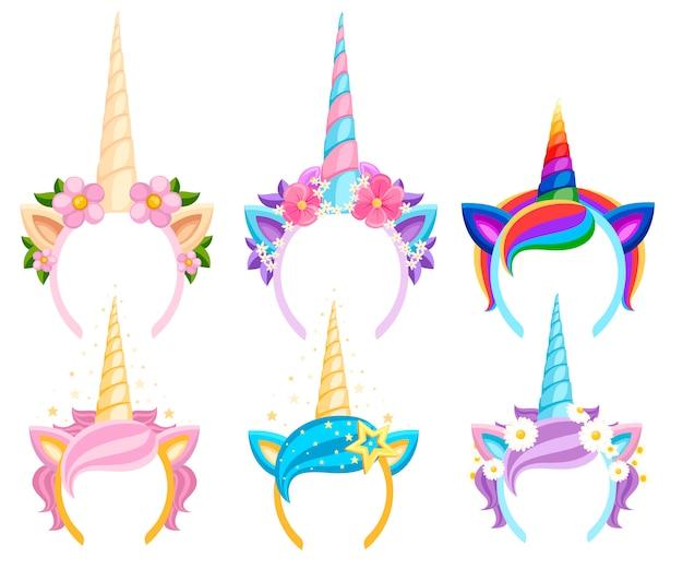 Set unicorn tiara's met bloemen en blad. mode accessoire hoofdband. hoofdband met regenboogstijl. vectorillustratie op witte achtergrond