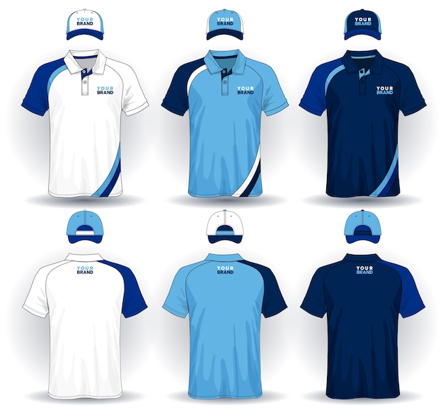 Set uniforme sjabloon, polo shirts en caps.
