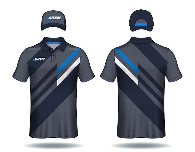 Set uniforme sjabloon, polo shirts en caps.
