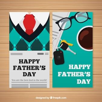 Set vaders dag banners met kleding in vlakke stijl