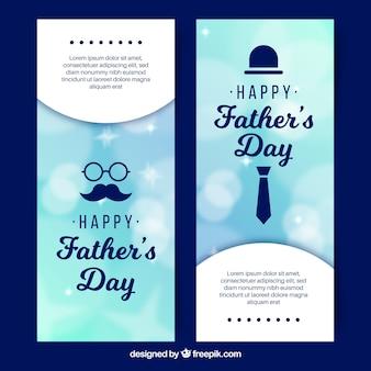 Set vaders dag banners met onscherpe achtergrond