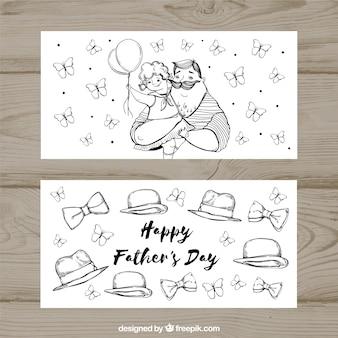 Set vaders dag banners met strikjes