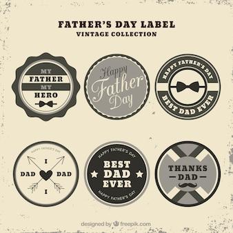 Set vaders dag etiketten in vintage stijl