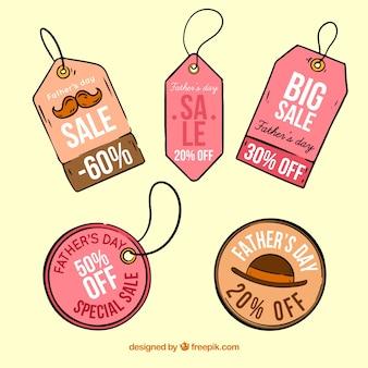 Set vaders dag verkoop labels in hand getrokken stijl