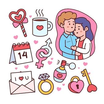 Set valentijnsdag doodle elementen
