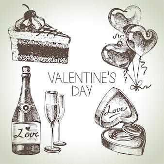 Set valentijnsdag. hand getekende illustraties