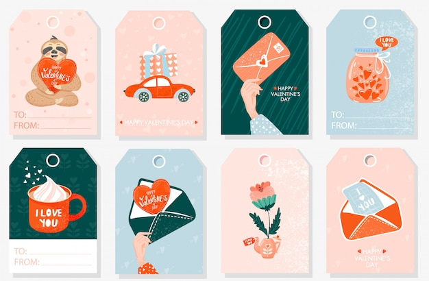 Set valentine gift tags.