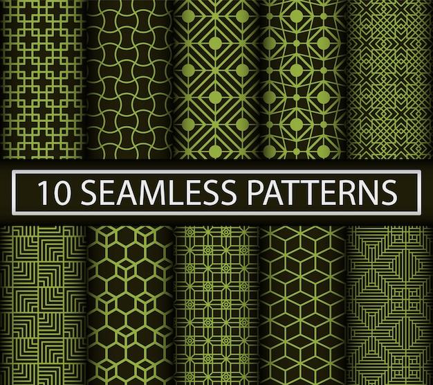 Set van 10 abstracte naadloze patronen.