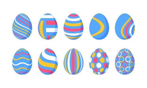 Set van 10 kleuren paaseieren met patroon. ontwerpelementen voor kerstkaarten. pasen-collectie met verschillende textuur. cartoon vlakke stijl illustratie