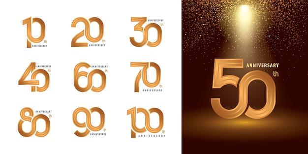 Set van 10 tot 100 verjaardag logo ontwerp, jaren vieren verjaardag logo