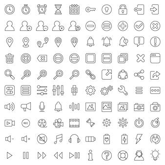 Set van 100 elementaire ui-ux pictogram activum