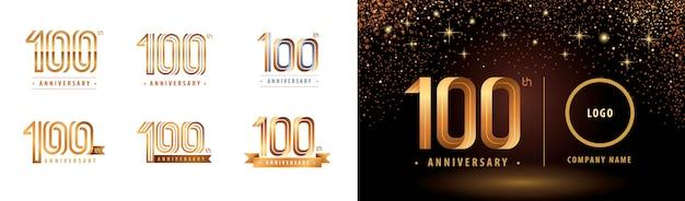 Set van 100-jarig jubileum logo ontwerp, viert het jubileumlogo van honderd jaar