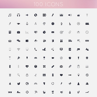Set van 100 plat pictogrammen