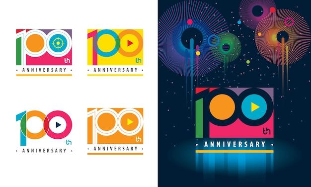 Set van 100e verjaardag kleurrijk logo