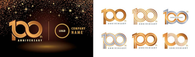 Set van 100e verjaardag label set