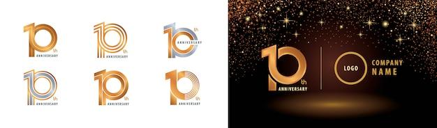 Set van 10e verjaardag logo-ontwerp, tien jaar jubileumviering