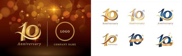 Set van 10e verjaardag logo ontwerp, tien jaar vieren verjaardagslogo