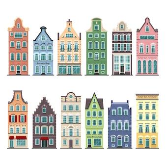 Set van 12 amsterdamse oude huizen cartoon gevels. traditionele architectuur van nederland