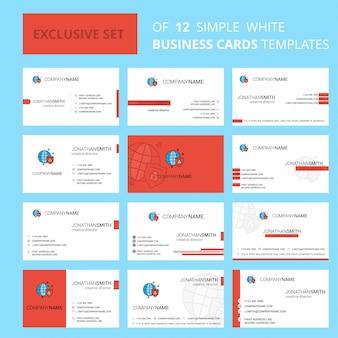 Set van 12 beschermde internet creative busienss kaartsjabloon. bewerkbaar creatief logo en visitekaartje achtergrond