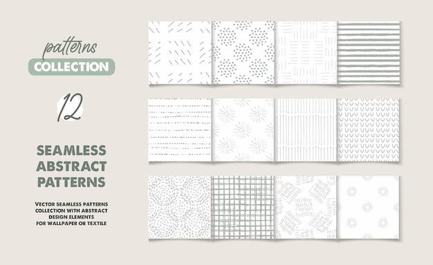 Set van 12 naadloze patronen en texturen met doodles en abstracte elementen
