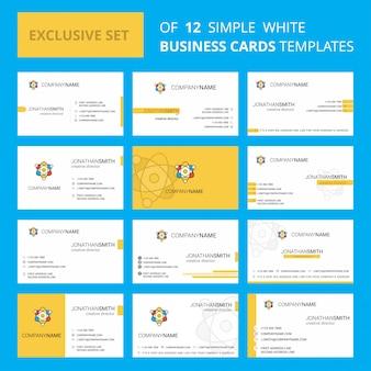 Set van 12 nucleaire creatieve visitekaartje sjabloon