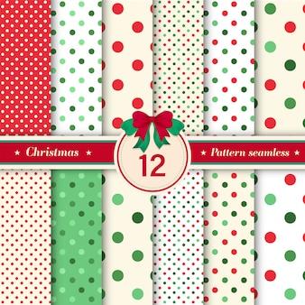 Set van 12 polka dot en glitter naadloos patroon.
