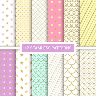 Set van 12 schattige naadloze patronen.