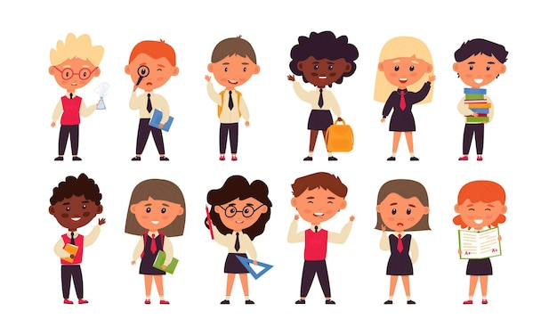 Set van 12 studenten. leuke stripfiguren. jongens en meisjes in schooluniformen. terug naar school. vectorillustratie, plat