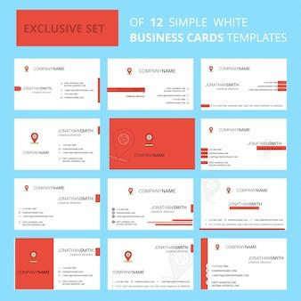 Set van 12 ziekenhuislocatie sjabloon voor creatief visitekaartjes.
