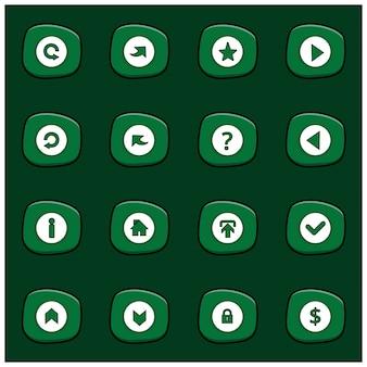 Set van 16 mix white icons op afgeronde groene rechthoek op dark green background cartoon style