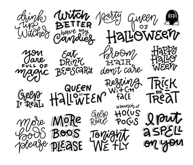 Set van 18 halloween party hand belettering inscriptie, viering citaat, zwart-wit kalligrafie.