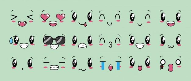 Set van 18 ontwerpen van kawaii-uitdrukkingen
