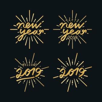 Set van 2019 nieuwjaarsviering badge vectoren