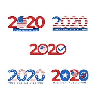 Set van 2020 amerikaanse presidentsverkiezingen logo's