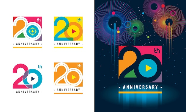 Set van 20e verjaardag kleurrijk logo