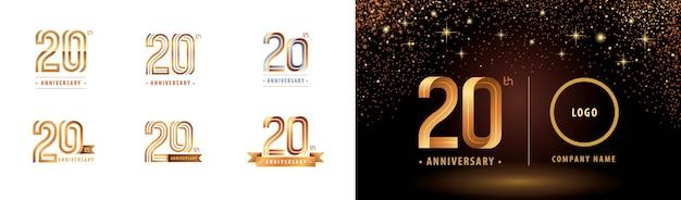 Set van 20e verjaardag logo ontwerp, twintig jaar vieren verjaardagslogo