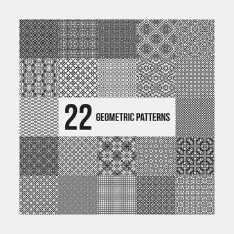 Set van 22 complexe monochrome geometrische patronen. naadloze achtergronden, bruikbaar voor textielontwerp.