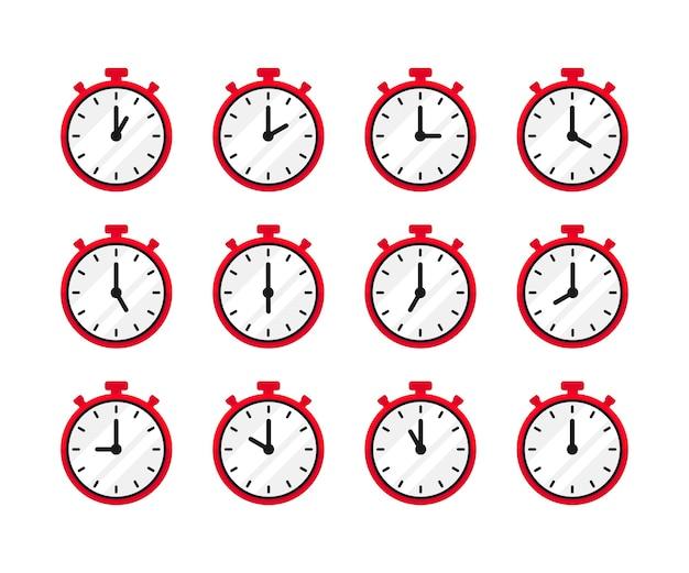 Set van 24 uur tijd in vintage rode klokstijl