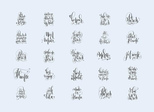 Set van 25 handgeschreven inscripties over reizen naar parijs, frankrijk, inspiratie citeert kalligrafiecollectie