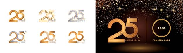 Set van 25e verjaardag logo ontwerp, vijfentwintig jaar vieren verjaardag logo meerdere regels